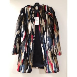 Zara multicolored faux fur coat
